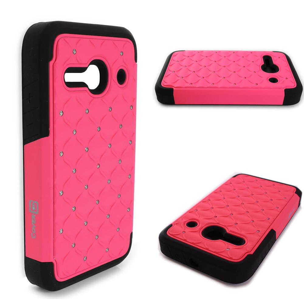 Diamond bling phone cover hybrid case for alcatel one