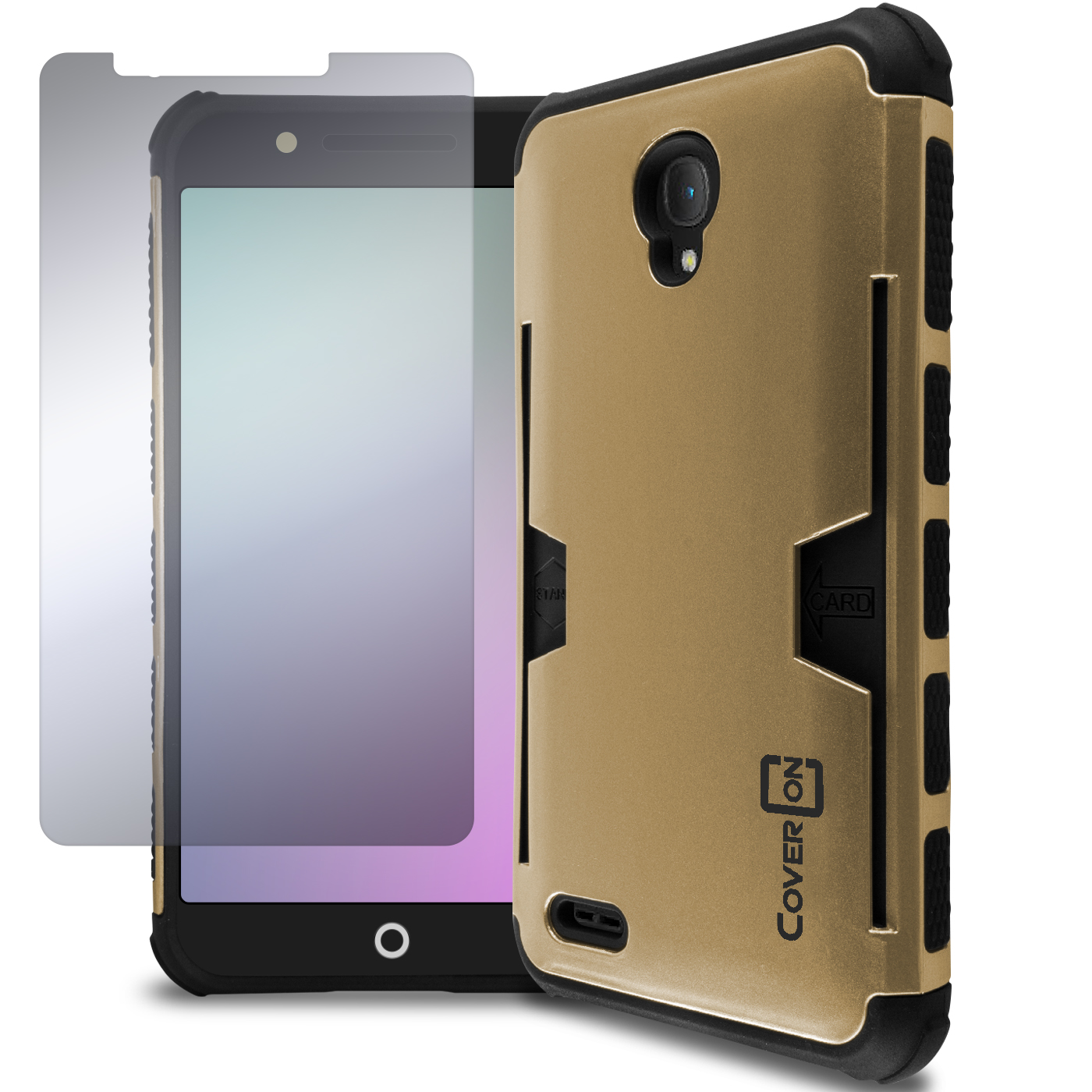 for alcatel one touch conquest gold black case hybrid credit card stand cover ebay. Black Bedroom Furniture Sets. Home Design Ideas