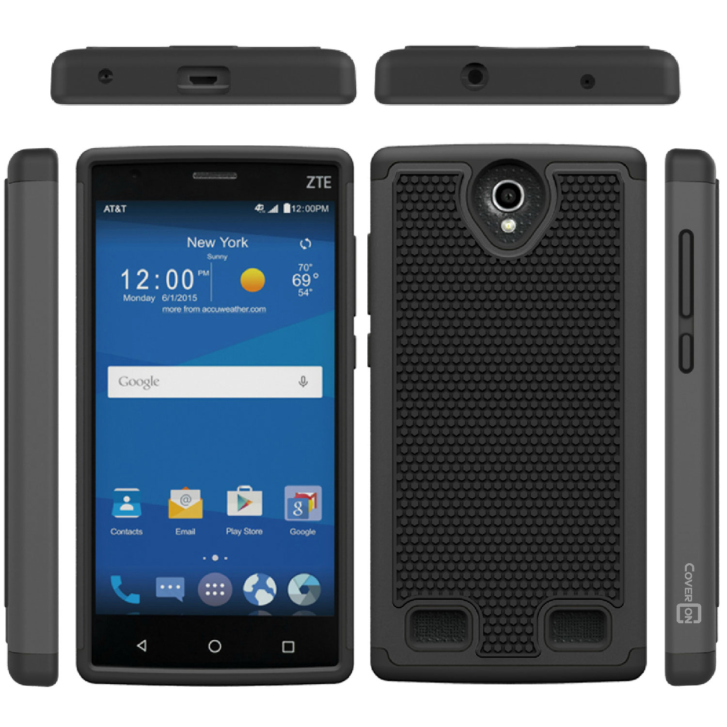 For Zte Zmax 2 Black Case Hybrid Protective Shock