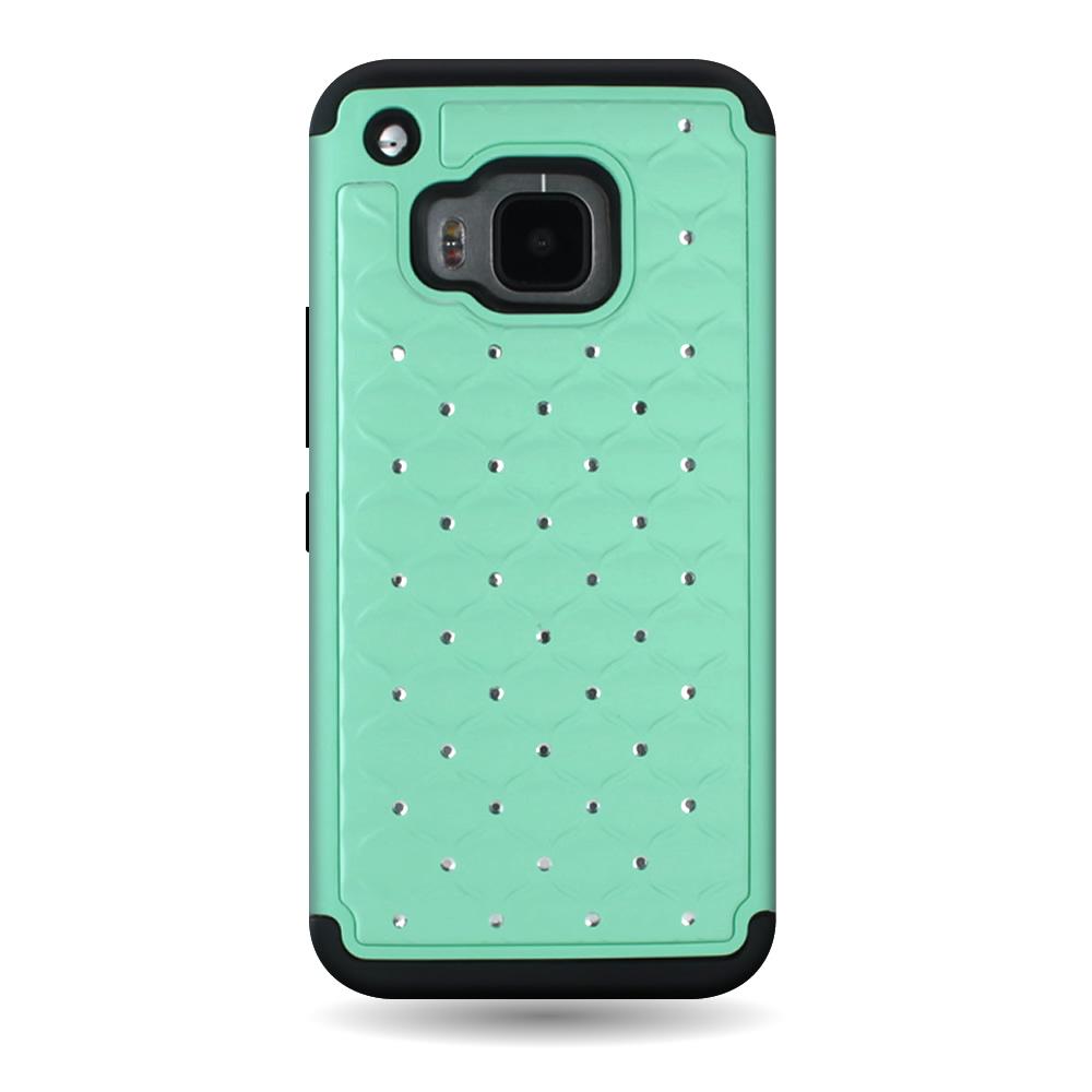 For HTC One M9 Case Rhinestone Diamond Hybrid Hard & Soft ...