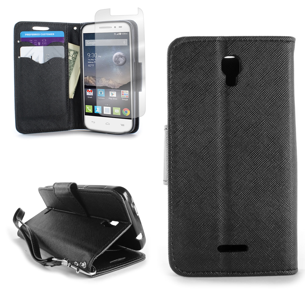 For Alcatel One Touch Pixi Charm Wallet Case Phone Cover