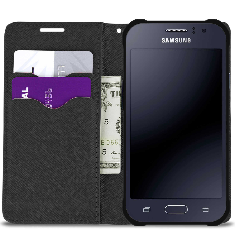 Blue chevron card wallet pouch cover credit card case for samsung galaxy j1 ace ebay - Fundas samsung ace ...