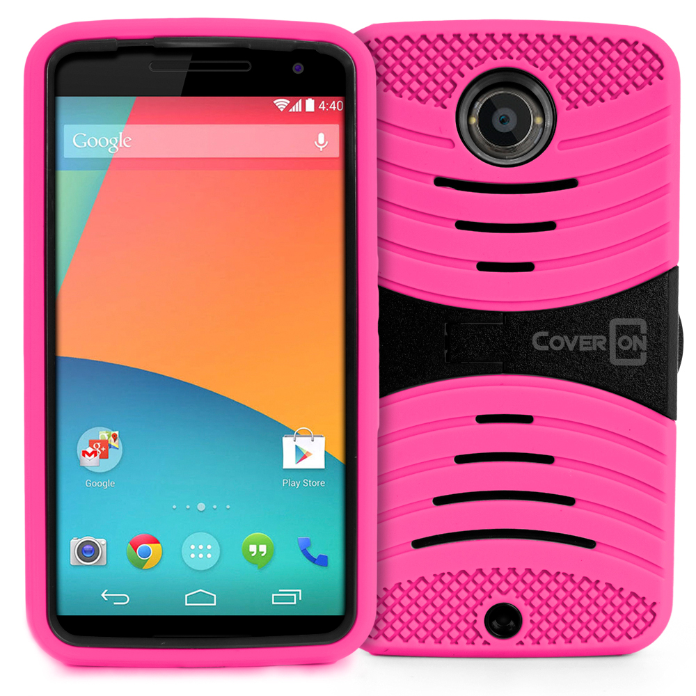 For Motorola Google Nexus 6 - Dual Layer Hard Soft Hybrid Stand Phone ...