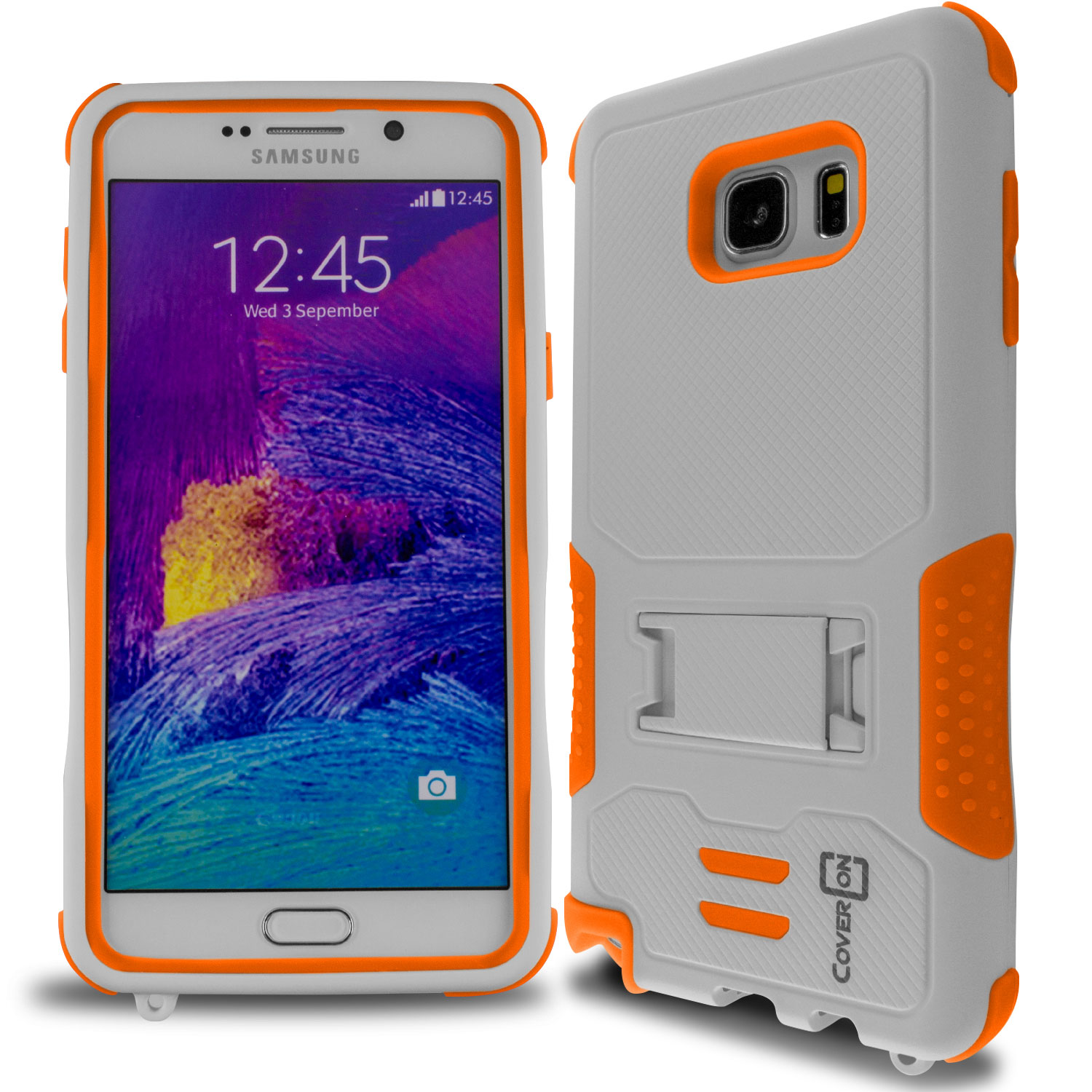 Orange & White Hybrid Heavy Duty Impact Cover Case for Samsung Galaxy Note 5